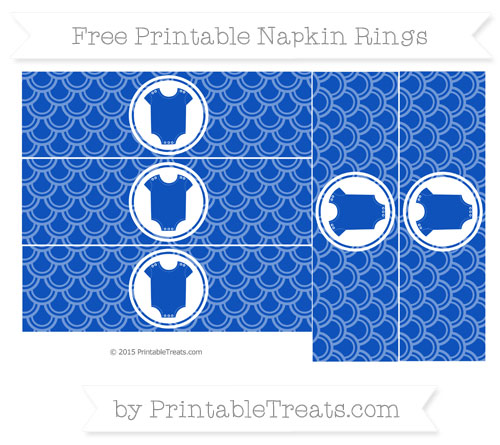 Free Sapphire Blue Fish Scale Pattern Baby Onesie Napkin Rings