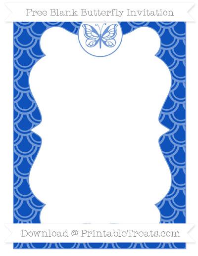 Free Sapphire Blue Fish Scale Pattern Blank Butterfly Invitation