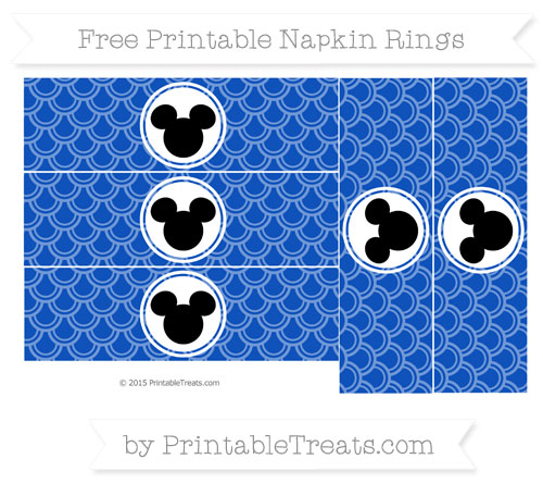 Free Sapphire Blue Fish Scale Pattern Mickey Mouse Napkin Rings
