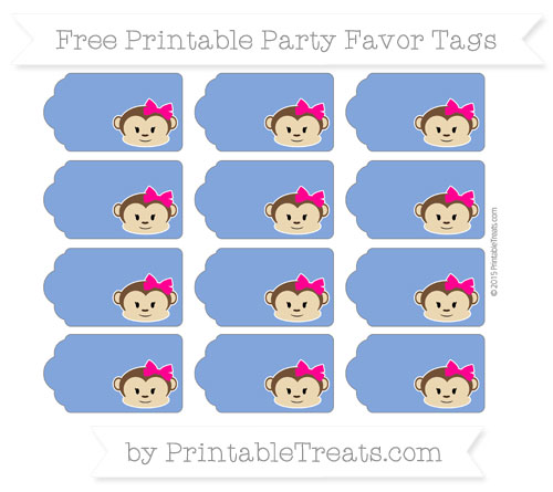 Free Sapphire Blue Girl Monkey Party Favor Tags