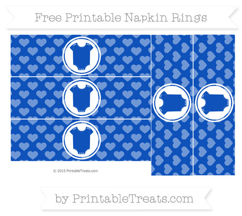 Free Sapphire Blue Heart Pattern Baby Onesie Napkin Rings