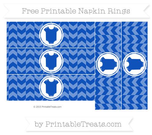 Free Sapphire Blue Herringbone Pattern Baby Onesie Napkin Rings