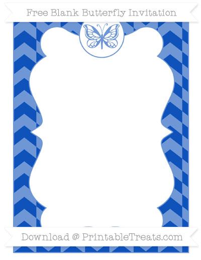 Free Sapphire Blue Herringbone Pattern Blank Butterfly Invitation