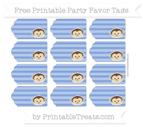 Free Sapphire Blue Horizontal Striped Boy Monkey Party Favor Tags