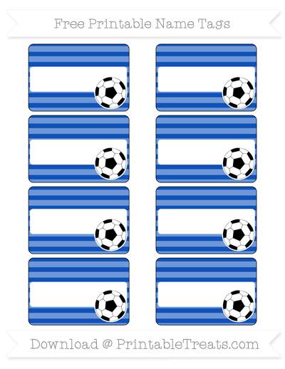 Free Sapphire Blue Horizontal Striped Soccer Name Tags