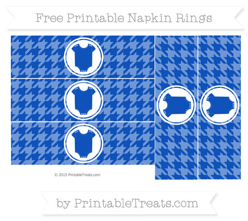 Free Sapphire Blue Houndstooth Pattern Baby Onesie Napkin Rings