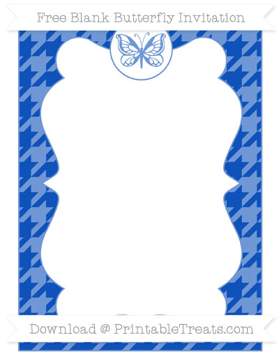 Free Sapphire Blue Houndstooth Pattern Blank Butterfly Invitation