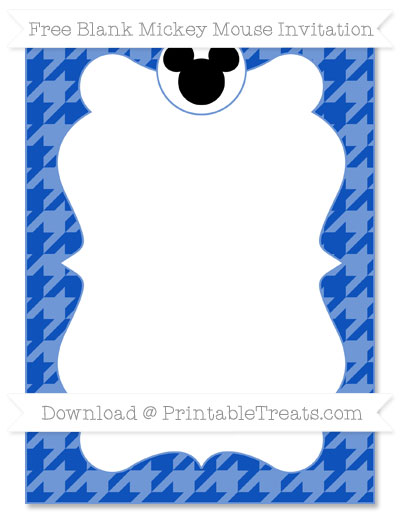 Free Sapphire Blue Houndstooth Pattern Blank Mickey Mouse Invitation