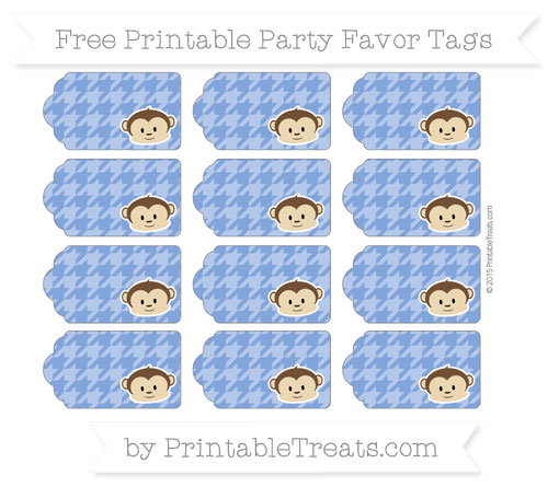 Free Sapphire Blue Houndstooth Pattern Boy Monkey Party Favor Tags