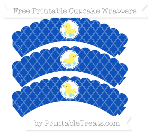 Free Sapphire Blue Moroccan Tile Baby Duck Scalloped Cupcake Wrappers