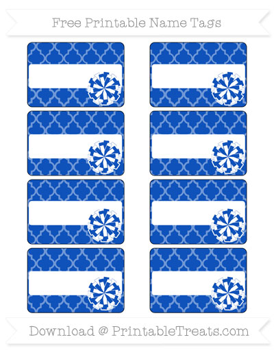 Free Sapphire Blue Moroccan Tile Cheer Pom Pom Tags