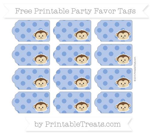 Free Sapphire Blue Polka Dot Boy Monkey Party Favor Tags