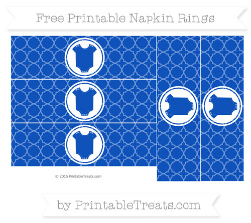 Free Sapphire Blue Quatrefoil Pattern Baby Onesie Napkin Rings