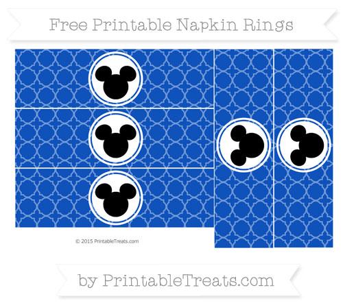 Free Sapphire Blue Quatrefoil Pattern Mickey Mouse Napkin Rings