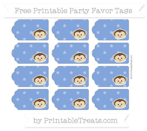 Free Sapphire Blue Star Pattern Boy Monkey Party Favor Tags