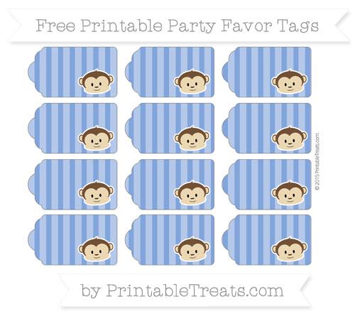Free Sapphire Blue Striped Boy Monkey Party Favor Tags