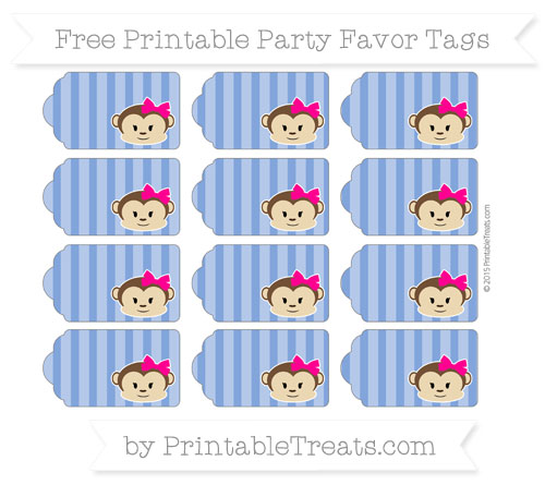 Free Sapphire Blue Striped Girl Monkey Party Favor Tags