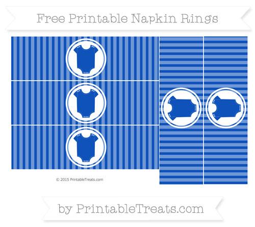 Free Sapphire Blue Thin Striped Pattern Baby Onesie Napkin Rings