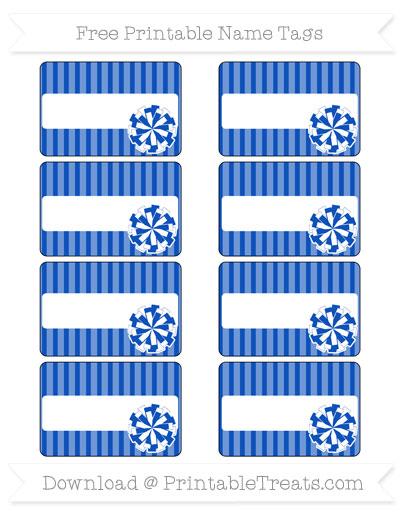 Free Sapphire Blue Thin Striped Pattern Cheer Pom Pom Tags