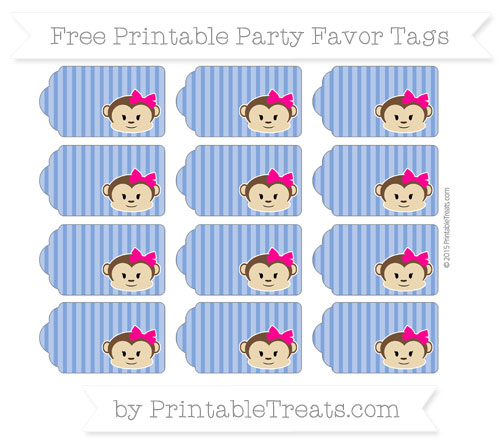Free Sapphire Blue Thin Striped Pattern Girl Monkey Party Favor Tags