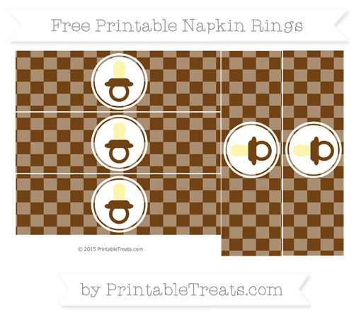 Free Sepia Checker Pattern Baby Pacifier Napkin Rings
