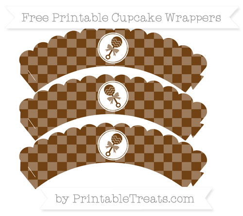 Free Sepia Checker Pattern Baby Rattle Scalloped Cupcake Wrappers