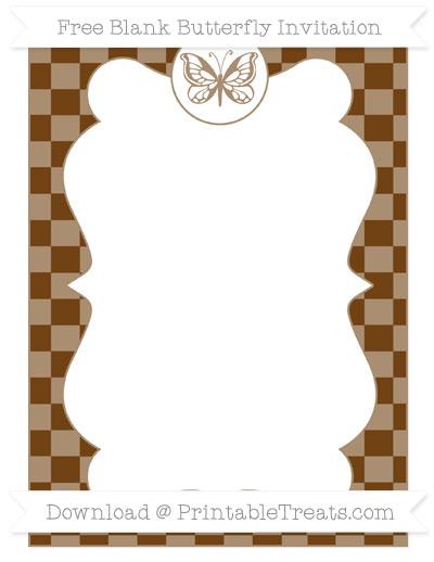 Free Sepia Checker Pattern Blank Butterfly Invitation