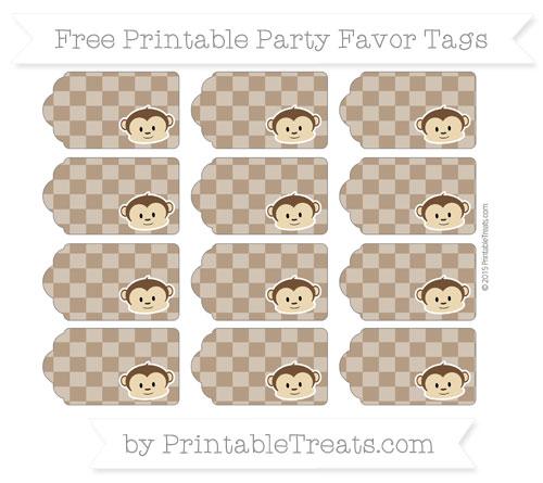 Free Sepia Checker Pattern Boy Monkey Party Favor Tags