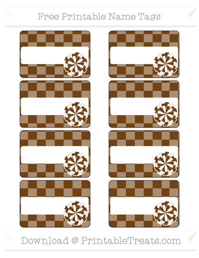 Free Sepia Checker Pattern Cheer Pom Pom Tags
