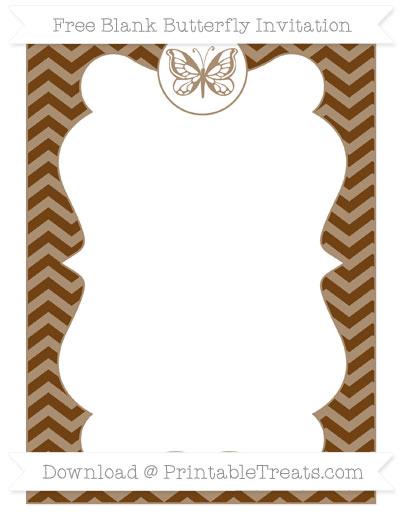 Free Sepia Chevron Blank Butterfly Invitation