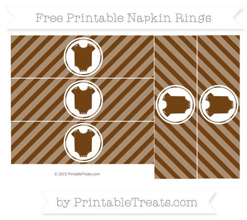 Free Sepia Diagonal Striped Baby Onesie Napkin Rings