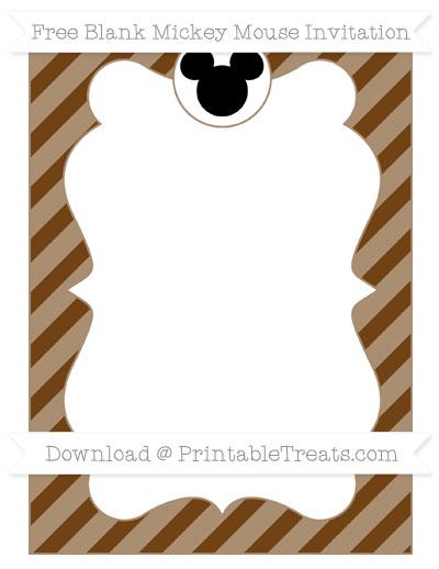 Free Sepia Diagonal Striped Blank Mickey Mouse Invitation
