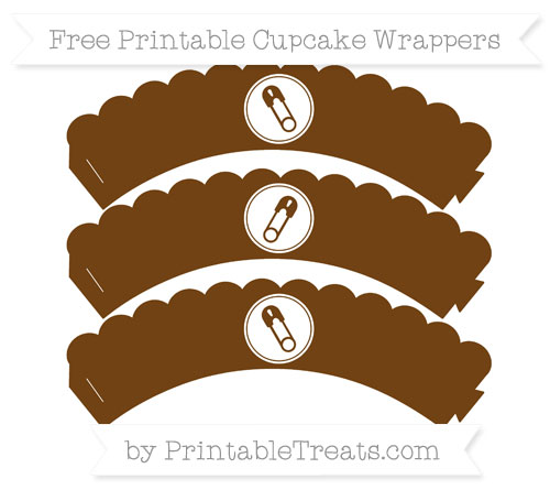 Free Sepia Diaper Pin Scalloped Cupcake Wrappers