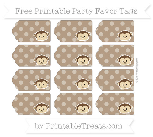 Free Sepia Dotted Pattern Boy Monkey Party Favor Tags