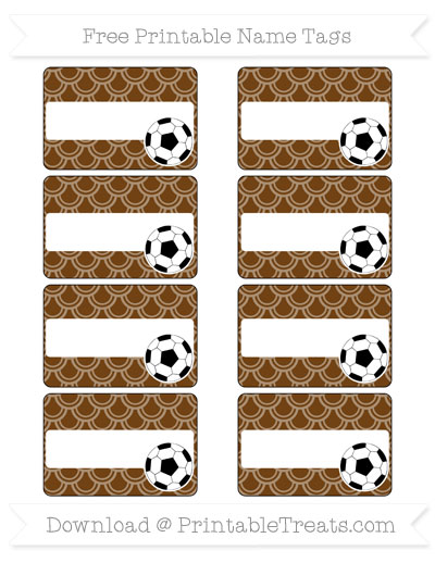 Free Sepia Fish Scale Pattern Soccer Name Tags