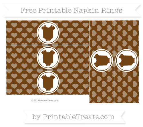 Free Sepia Heart Pattern Baby Onesie Napkin Rings