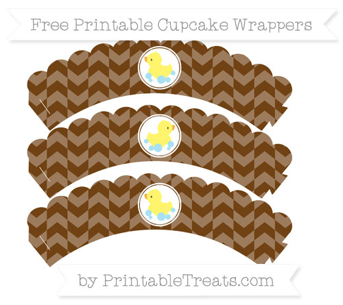 Free Sepia Herringbone Pattern Baby Duck Scalloped Cupcake Wrappers