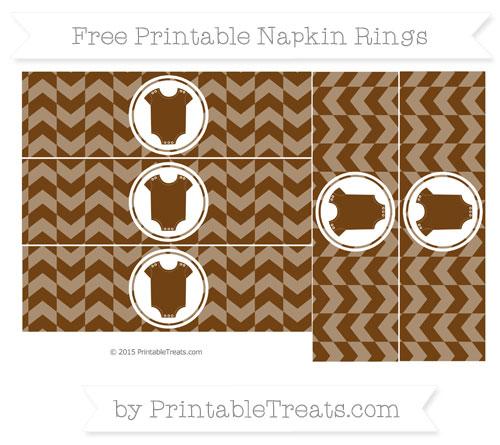 Free Sepia Herringbone Pattern Baby Onesie Napkin Rings