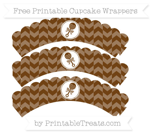 Free Sepia Herringbone Pattern Baby Rattle Scalloped Cupcake Wrappers