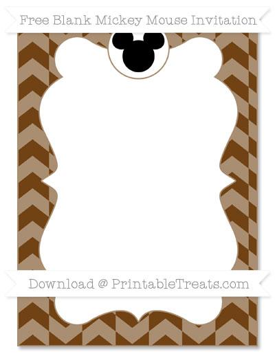 Free Sepia Herringbone Pattern Blank Mickey Mouse Invitation