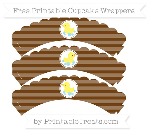 Free Sepia Horizontal Striped Baby Duck Scalloped Cupcake Wrappers