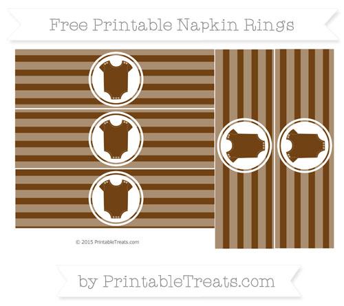 Free Sepia Horizontal Striped Baby Onesie Napkin Rings