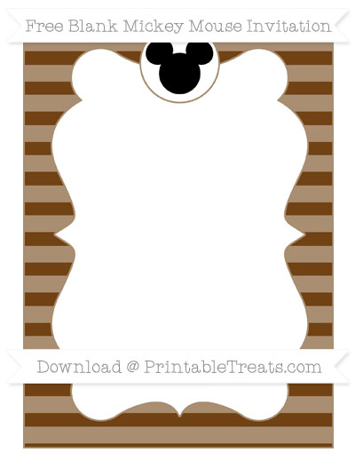 Free Sepia Horizontal Striped Blank Mickey Mouse Invitation