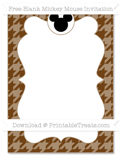 Free Sepia Houndstooth Pattern Blank Mickey Mouse Invitation