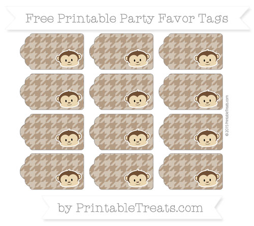 Free Sepia Houndstooth Pattern Boy Monkey Party Favor Tags
