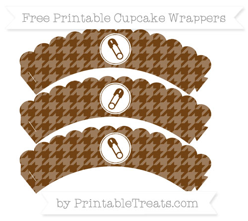 Free Sepia Houndstooth Pattern Diaper Pin Scalloped Cupcake Wrappers