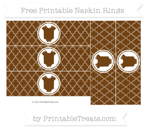 Free Sepia Moroccan Tile Baby Onesie Napkin Rings