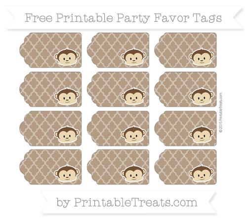Free Sepia Moroccan Tile Boy Monkey Party Favor Tags