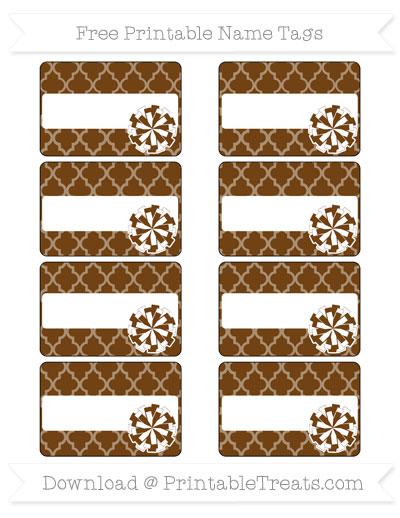 Free Sepia Moroccan Tile Cheer Pom Pom Tags