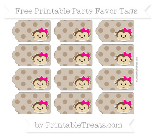 Free Sepia Polka Dot Girl Monkey Party Favor Tags